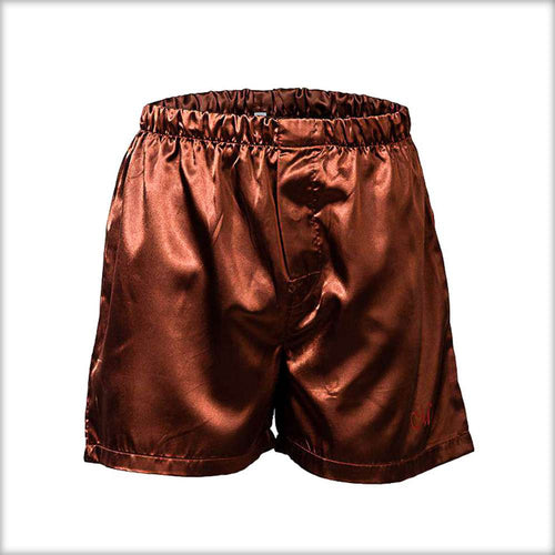 Polyester Solid Satin Men's Boxer MS01-BR - Mens Shorts - diKHAWA Online Shopping in Pakistan