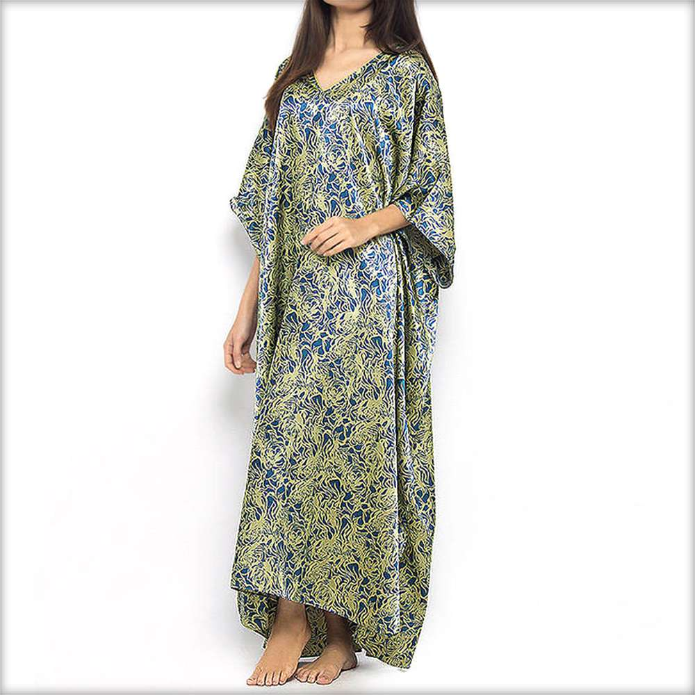 Blue & Yellow Printed Long Nighty Kaftan - Kaftan - diKHAWA Online Shopping in Pakistan