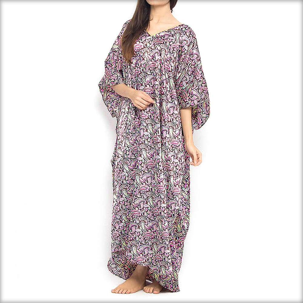 Purple Printed Long Nighty Kaftan - Kaftan - diKHAWA Online Shopping in Pakistan