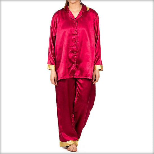 Maroon Solid Polyester Nightsuit With Golden Border - Ladies Nightdress - diKHAWA Online Shopping in Pakistan