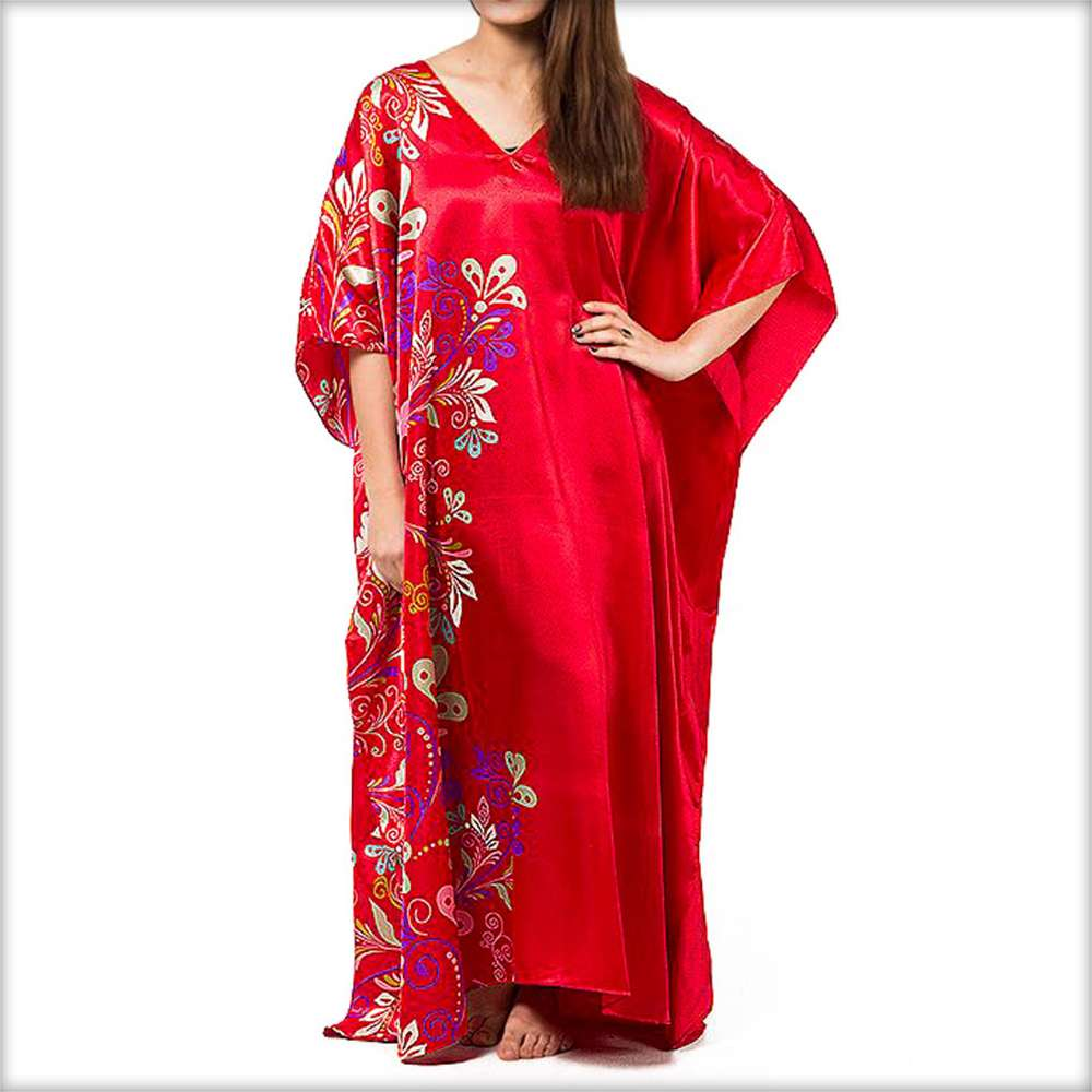 Midnight Dream Floral Print Red Kaftan - Kaftan - diKHAWA Online Shopping in Pakistan