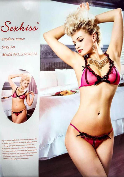 Sexy Pink With Black Frrill Lingerie Set - Lingerie - diKHAWA Online Shopping in Pakistan