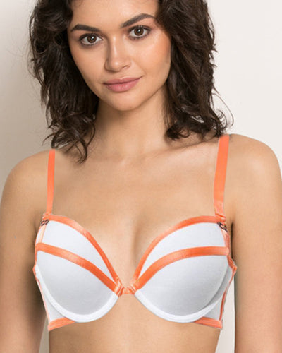 Stripes Bra - White & Orange - Removable Straps Bra