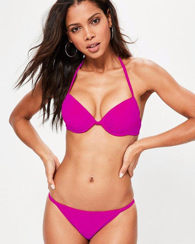 Pink Single Padded Bikini Style Bra & Panty Set - Bra Panty Sets - diKHAWA Online Shopping in Pakistan
