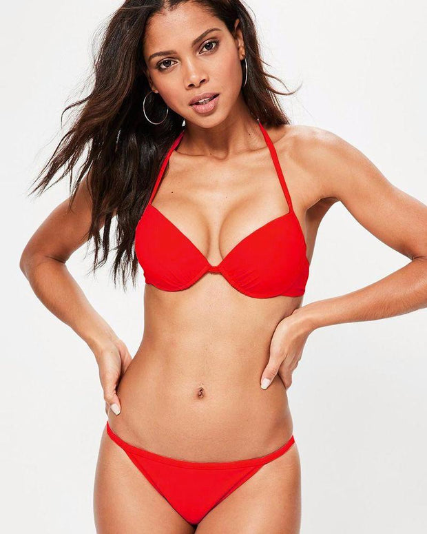 Red Single Padded Bikini Style Bra & Panty Set - Bra Panty Sets - diKHAWA Online Shopping in Pakistan