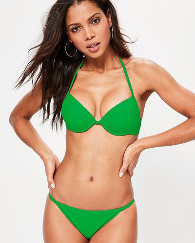 Paki Green Single Padded Bikini Style Bra & Panty Set - Bra Panty Sets - diKHAWA Online Shopping in Pakistan