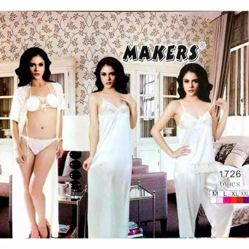 Ivory Nighty Set - 6 Pcs - Nighty Sets - diKHAWA Online Shopping in Pakistan
