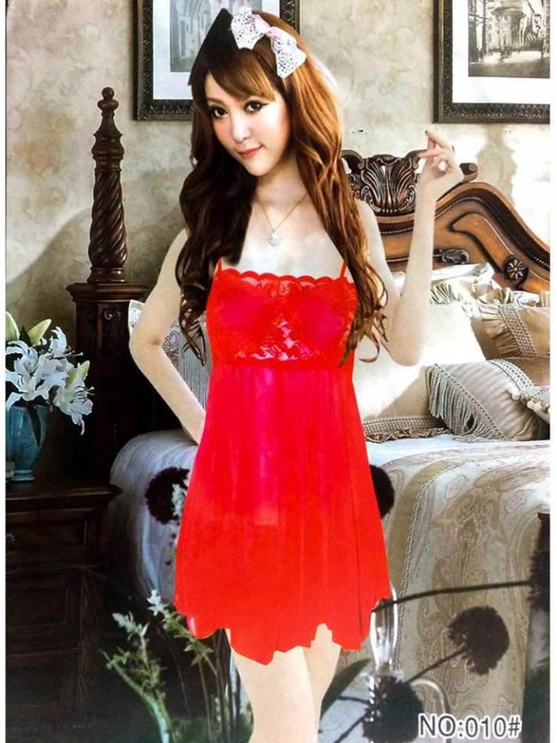 Lace Short Nighty - 010 - Nighty - diKHAWA Online Shopping in Pakistan