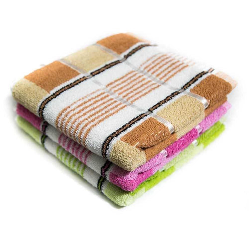 Pack Of 3 – Colorful Striped Microfiber Cotton Towels – Export Quality – 20