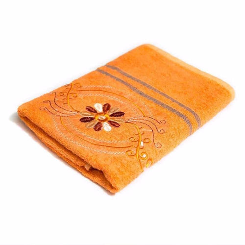 Orange Embroidered Hand Towels – Export Quality – 24