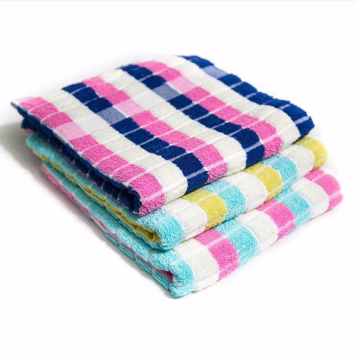 Pack Of 3 – Colorful Checked Microfiber Cotton Towels – Export Quality – 20