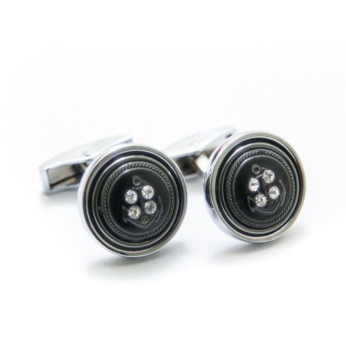 Diamond Button Style Rounded Cufflinks For Men - Cufflinks - diKHAWA Online Shopping in Pakistan