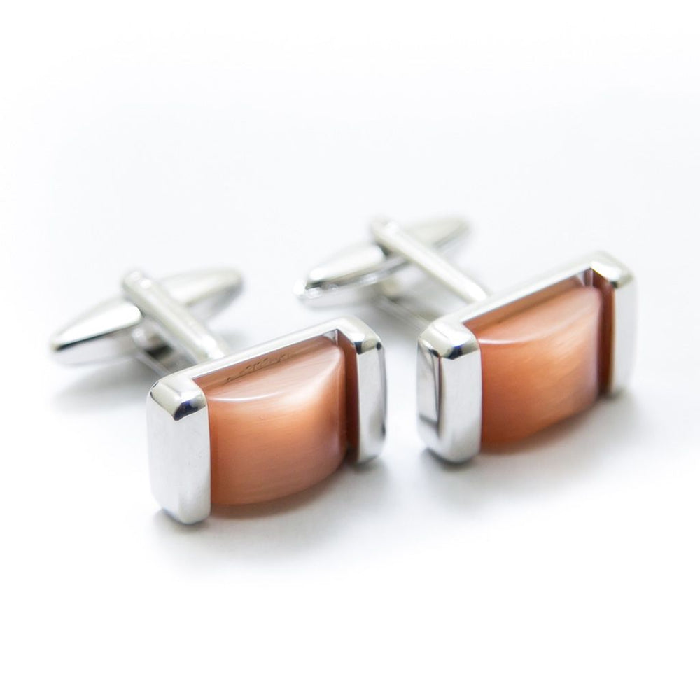 Royal Classic Stainless Steel Mens Cufflinks With Orange Stone - Cufflinks - diKHAWA Online Shopping in Pakistan