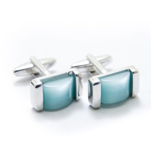 Royal Classic Stainless Steel Mens Cufflinks With Sky Blue Stone