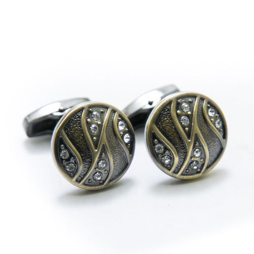Antique Cufflinks For Mens Wedding Shirt – Rounded Design With Diamond - Cufflinks - diKHAWA Online Shopping in Pakistan