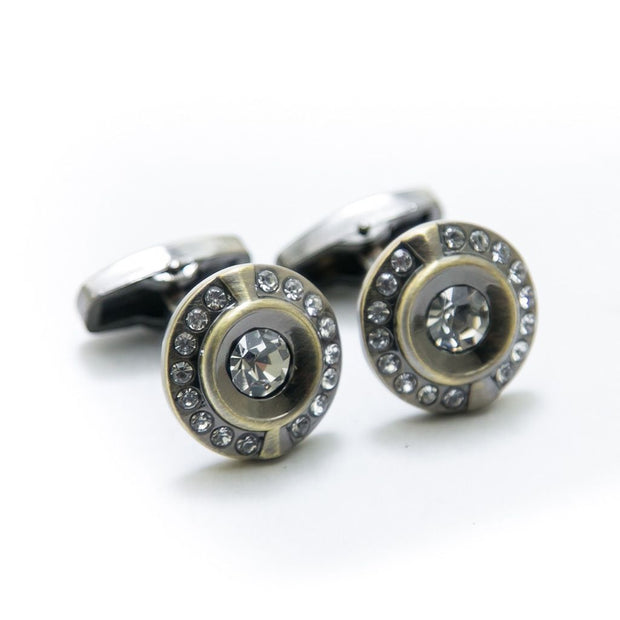 Designer Cufflinks For Mens Wedding Shirt – Rounded With Diamond - Cufflinks - diKHAWA Online Shopping in Pakistan