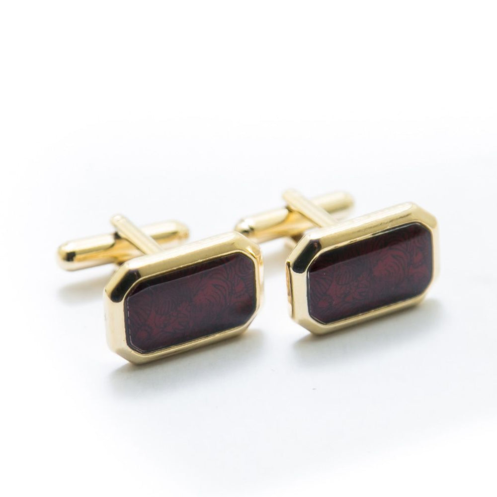 Mens Cufflinks Golden & Red – Branded Cufflinks For Men - Cufflinks - diKHAWA Online Shopping in Pakistan