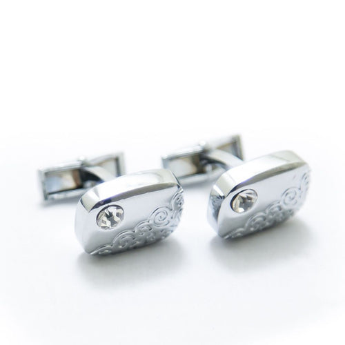 Mens Cufflinks – Stainless Steel With Diamond - Cufflinks - diKHAWA Online Shopping in Pakistan