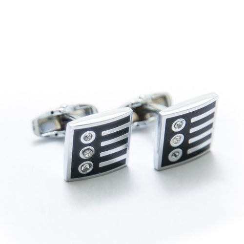 Mens Cufflinks – Stainless Steel With Black Design – Diamond – Square - Cufflinks - diKHAWA Online Shopping in Pakistan