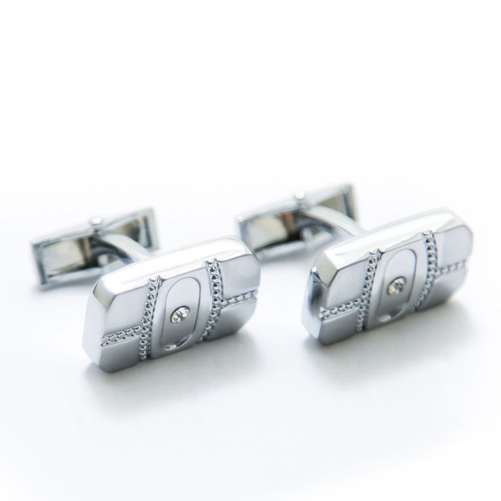 Mens Cufflinks – Stainless Steel With Diamond – Rectangle - Cufflinks - diKHAWA Online Shopping in Pakistan