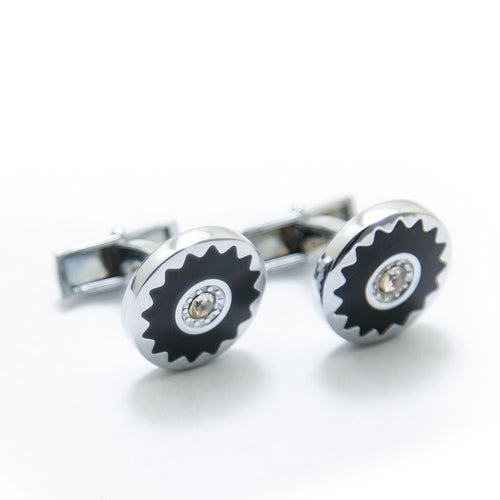 Mens Cufflinks – Stainless Steel With Black Flower – Diamond – Rounded