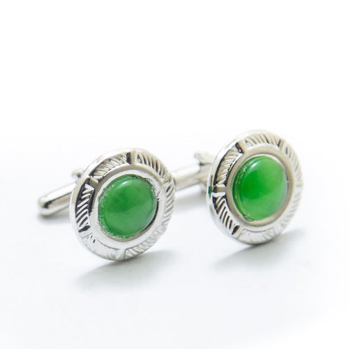 Mens Cufflinks With Parrot Green Gemstone – Rounded