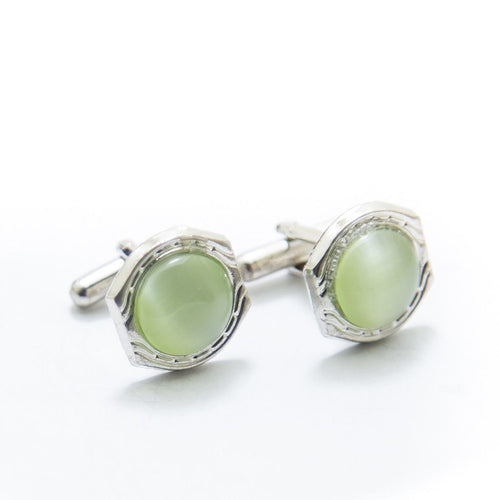 Mens Cufflinks With Light Green Gemstone – Rounded - Cufflinks - diKHAWA Online Shopping in Pakistan