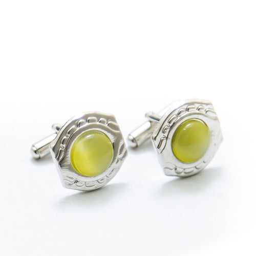 Mens Cufflinks With Lime Gemstone – Rounded