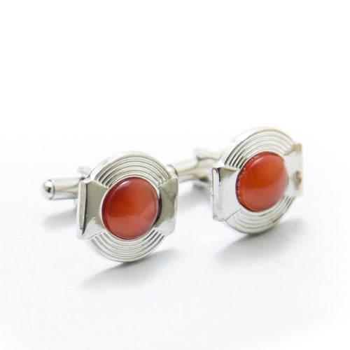 Mens Cufflinks With Red Gemstone – Rounded - Cufflinks - diKHAWA Online Shopping in Pakistan