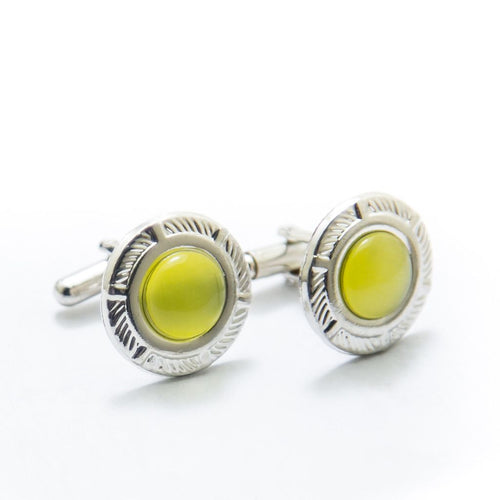 Mens Cufflinks With Yellow Gemstone – Rounded - Cufflinks - diKHAWA Online Shopping in Pakistan