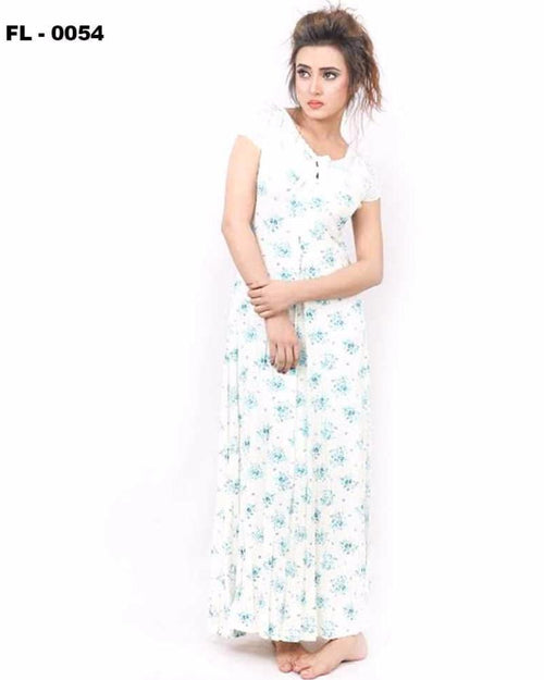 White With Blue Flower Print Flourish Night Gown - FL-0054 - Nighty - diKHAWA Online Shopping in Pakistan
