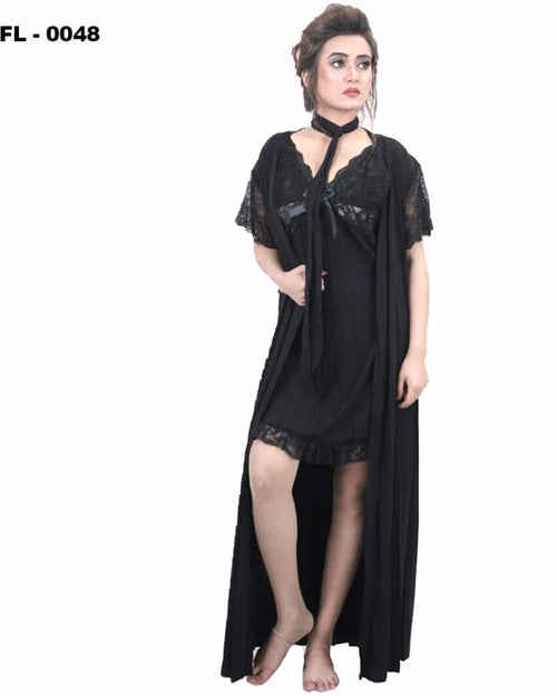 White Flourish 2Pc Women Nightwear - FL-0048 - Nighty Sets - diKHAWA Online Shopping in Pakistan
