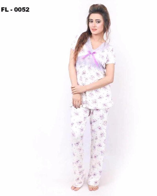 White With Purple Flower Print Flourish 2Pc Women Nightdress - FL-0052 - Nighty - diKHAWA Online Shopping in Pakistan