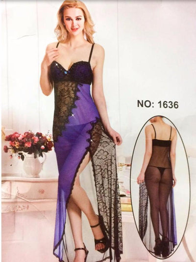 Long Net Nighty Sleeveless For Women - CPG-1636 - Nighty - diKHAWA Online Shopping in Pakistan