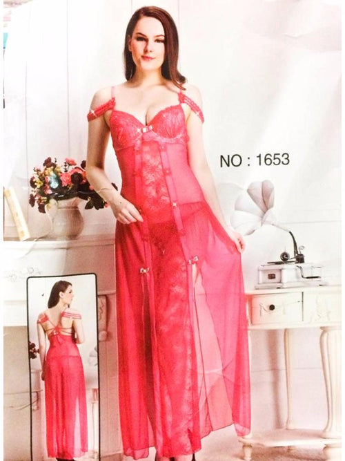 Long Net Nighty Sleeveless For Women - CPG-1653 - Nighty - diKHAWA Online Shopping in Pakistan