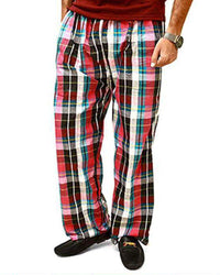 Men's Cotton Checked Pajama - Black & Red - Mens Pajama - diKHAWA Online Shopping in Pakistan