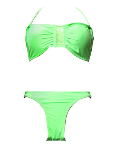 Stylish Green Single Padded Bikini Set - Fancy Bra Panty Set