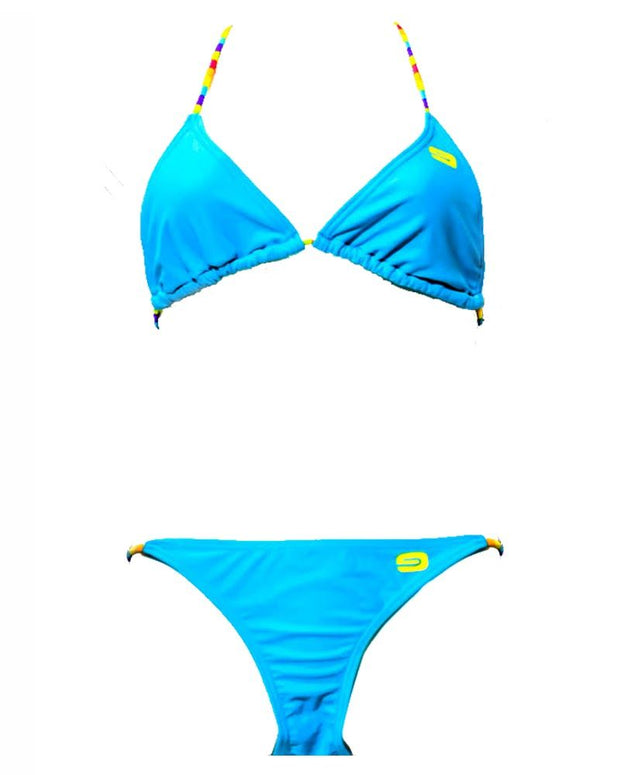 Sky Blue New Stylish Rainbow Single Padded Bikini Set - Fancy Bra Panty Set