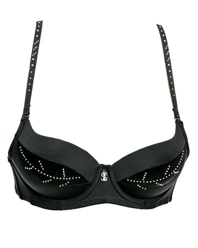 Fancy Bridal SH789 Diamond Black Bra- Single Padded,Under Wired Bra - By Sister Hood