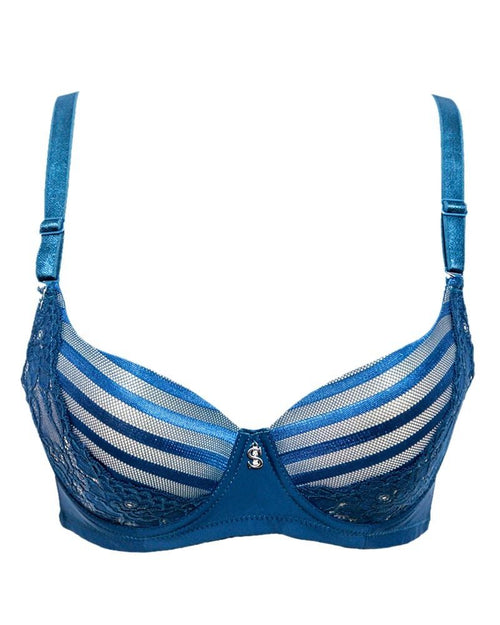 Stylish Bridal Collection Bra SH969 Blue - Single Padded,Under Wired Bra - By Sister Hood