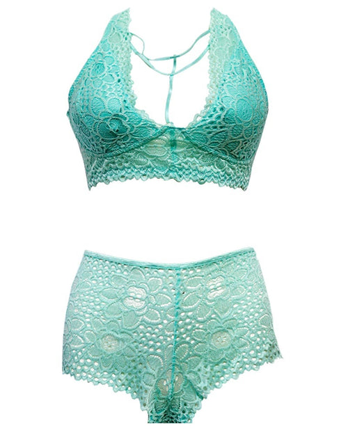 Sexy Net Bra Panty Set 318 Green - Soft Padded Non Wired - Luxe Lingerie