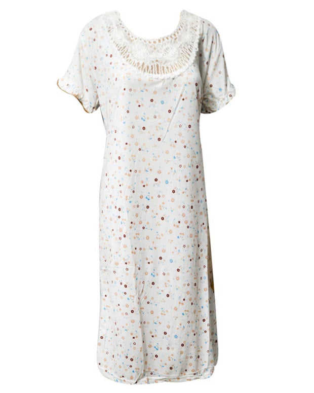 Printed White Long Nighty With Brown Dotted 111.3 -  Women Nightdress