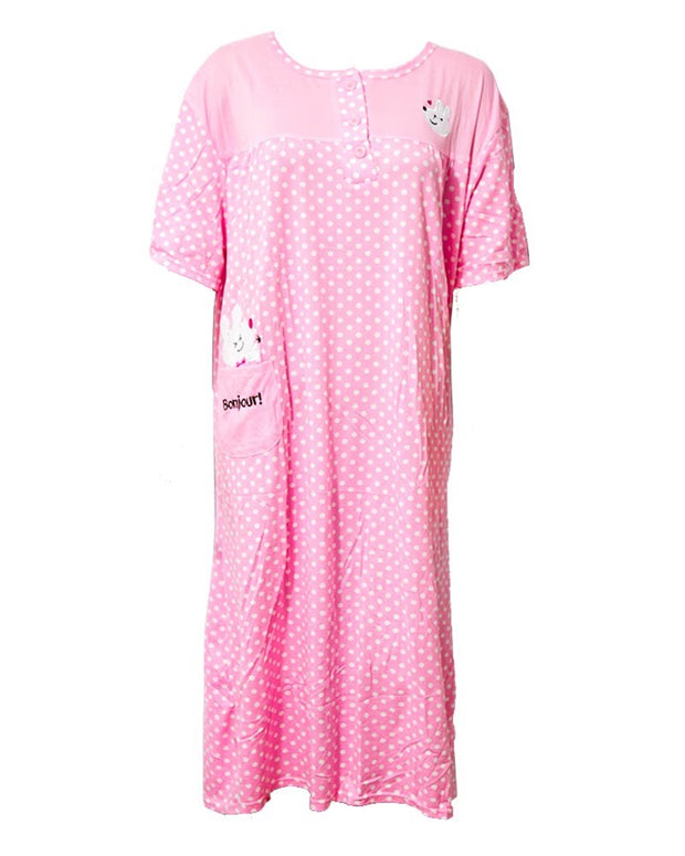 Stylish Hot Pink Long Nighty With Front Buttons 903 - Women Nightdress
