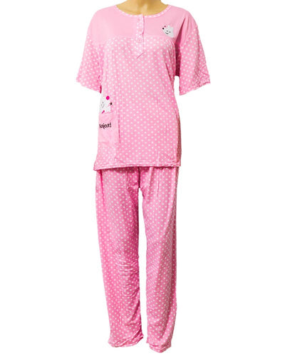 7d792eb406 Baby 2 Pcs Pink Nightdress For Girls White Dotted   Front Button 703 - Women  Nightdress