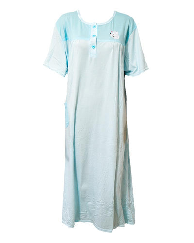 Firozi Long Nighty Plain & Side Pocket 901 -  Women Nightdress