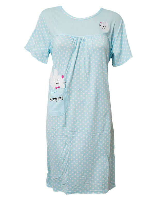 Firozi Long Nighty White Dotted & Side Pocket 103 -  Women Nightdress