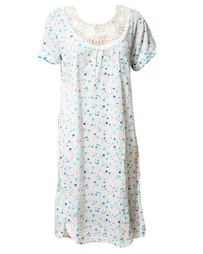 Fancy White Long Nighty Multi Dotted 111.3 - Women Nightdress