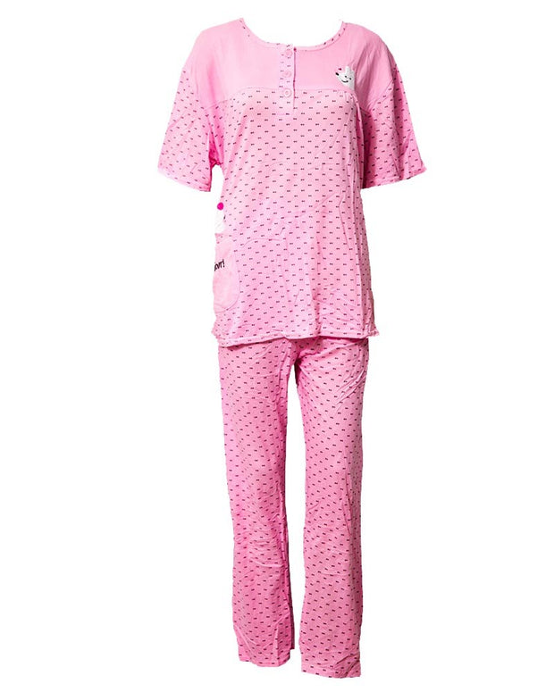 Pink 2 Pcs Nightdress For Girls Dotted & Front Button 702 - Women Nightdress