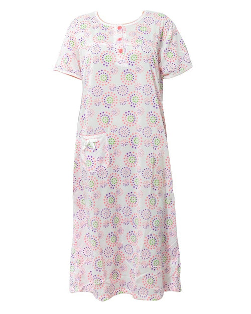 White Long Nighty Printed & Side Pocket  Pink Shade 4014 -  Women Nightdress