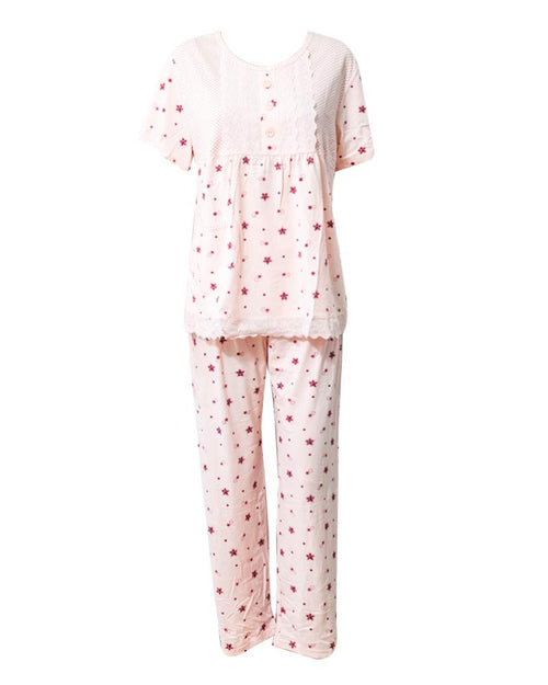 Peach Star Printed 2 Pcs Nightdress For Girls TB-74.3 - Women Nightdress